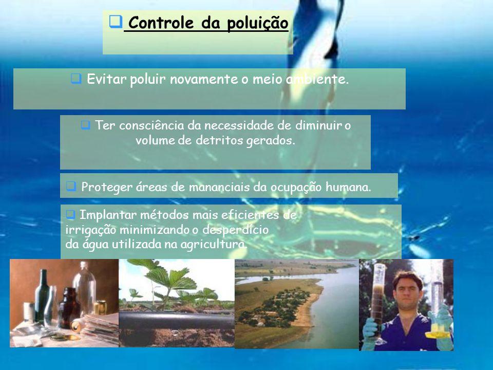 Controle da poluição Evitar poluir novamente o meio ambiente. Ter consciência da necessidade de diminuir o volume de detritos gerados. Proteger áreas