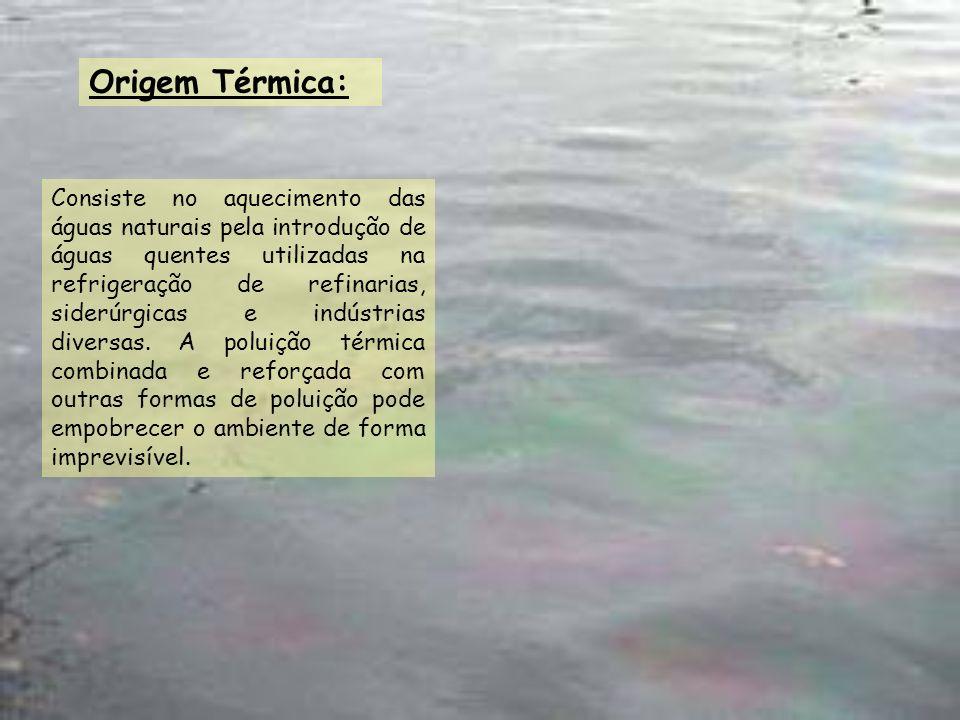 Origem Térmica: Consiste no aquecimento das águas naturais pela introdução de águas quentes utilizadas na refrigeração de refinarias, siderúrgicas e i