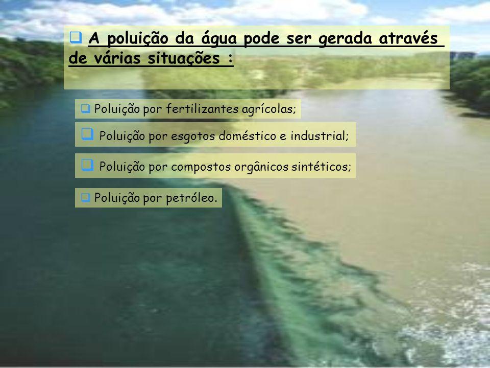 A poluição da água pode ser gerada através de várias situações : Poluição por fertilizantes agrícolas; Poluição por esgotos doméstico e industrial; Po