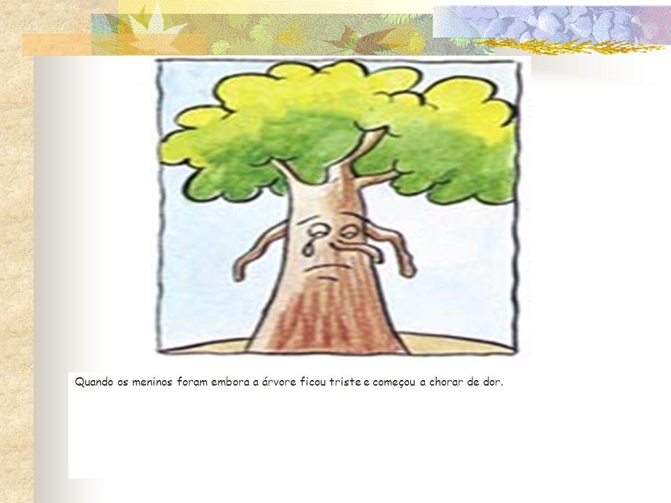 Quando os meninos foram embora a árvore ficou triste e começou a chorar de dor.