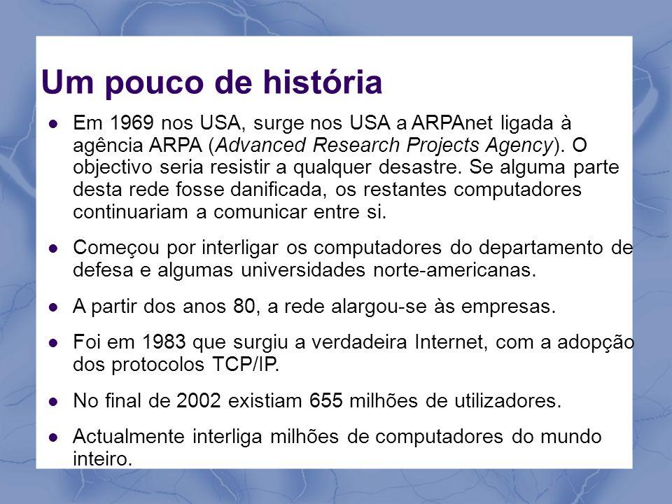 Um pouco de história Em 1969 nos USA, surge nos USA a ARPAnet ligada à agência ARPA (Advanced Research Projects Agency). O objectivo seria resistir a