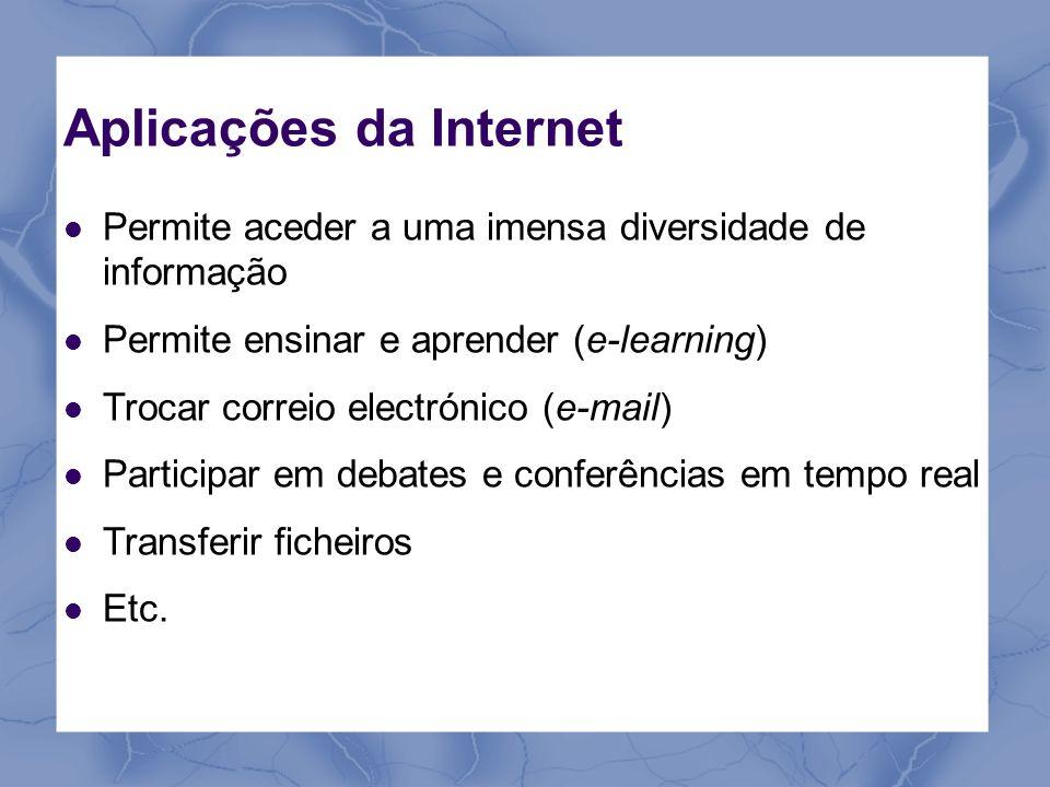 Aplicações da Internet Permite aceder a uma imensa diversidade de informação Permite ensinar e aprender (e-learning) Trocar correio electrónico (e-mai