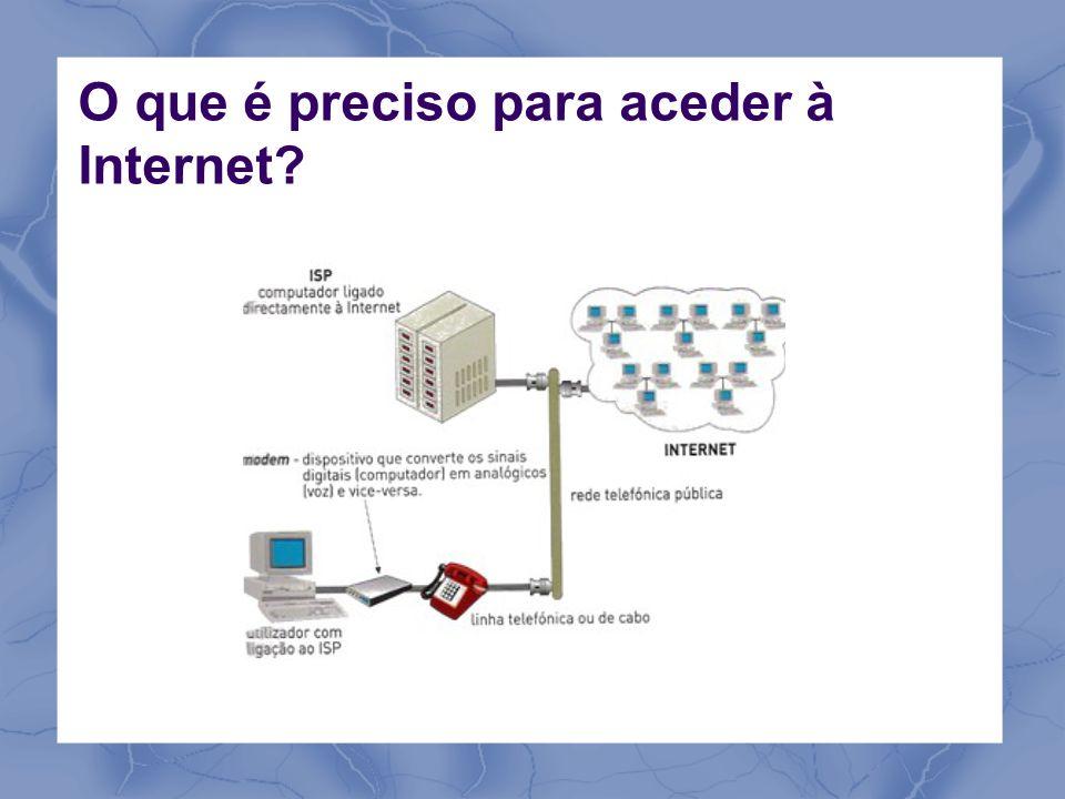 Um modem ou dispositivo de acesso Uma linha telefónica, cabo ou acesso móvel Uma conta de acesso a um fornecedor de serviços Internet (ISP) Conta: username e password Antes de se escolher um ISP convém proceder a uma pesquisa sobre as condições que cada um oferece Criar ou configurar uma ligação à Internet