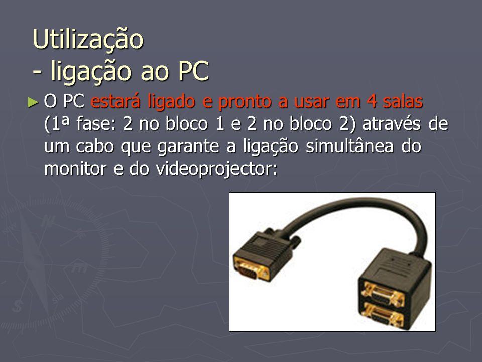 O PC estará ligado e pronto a usar em 4 salas (1ª fase: 2 no bloco 1 e 2 no bloco 2) através de um cabo que garante a ligação simultânea do monitor e