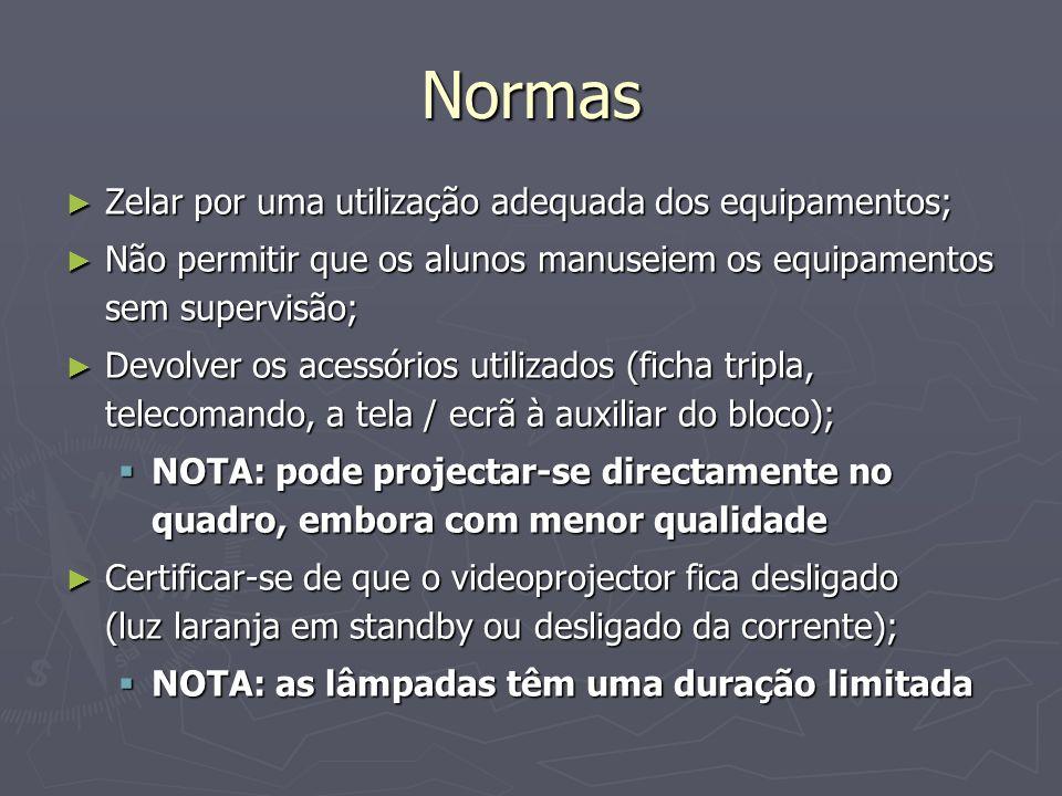 Normas Zelar por uma utilização adequada dos equipamentos; Zelar por uma utilização adequada dos equipamentos; Não permitir que os alunos manuseiem os