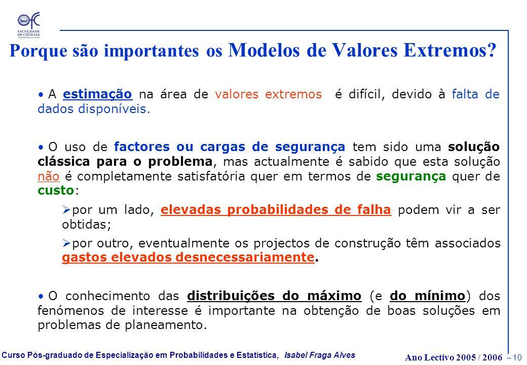 Ano Lectivo 2005 / 2006 – 9 Curso Pós-graduado de Especialização em Probabilidades e Estatística, Isabel Fraga Alves Porque são importantes os Modelos
