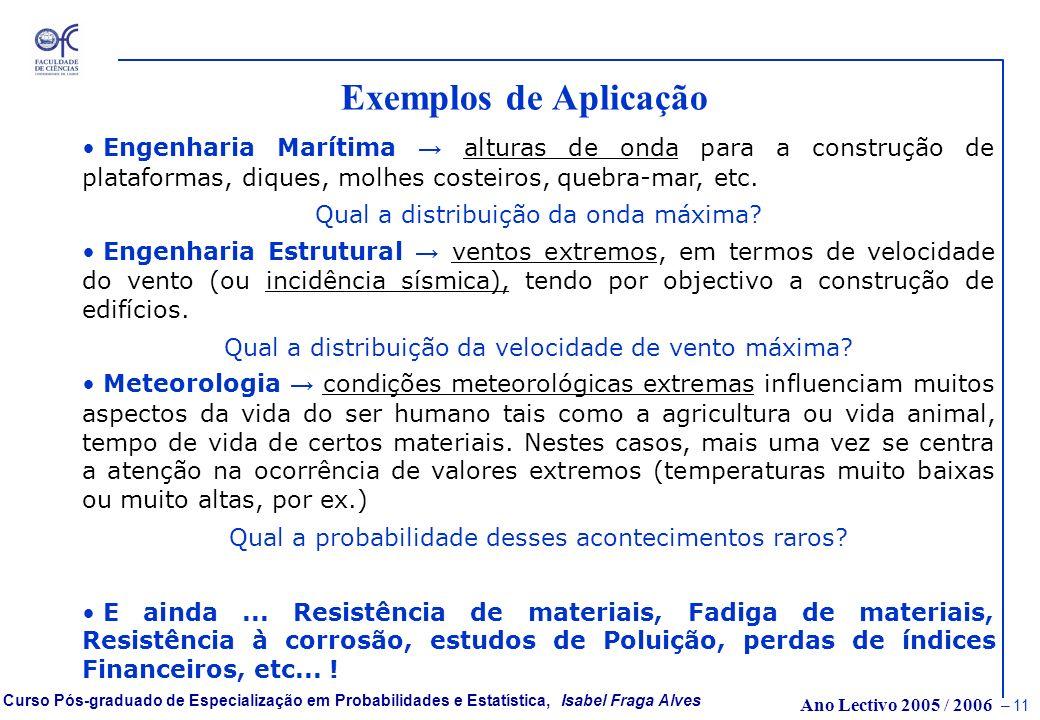 Ano Lectivo 2005 / 2006 – 10 Curso Pós-graduado de Especialização em Probabilidades e Estatística, Isabel Fraga Alves Porque são importantes os Modelo