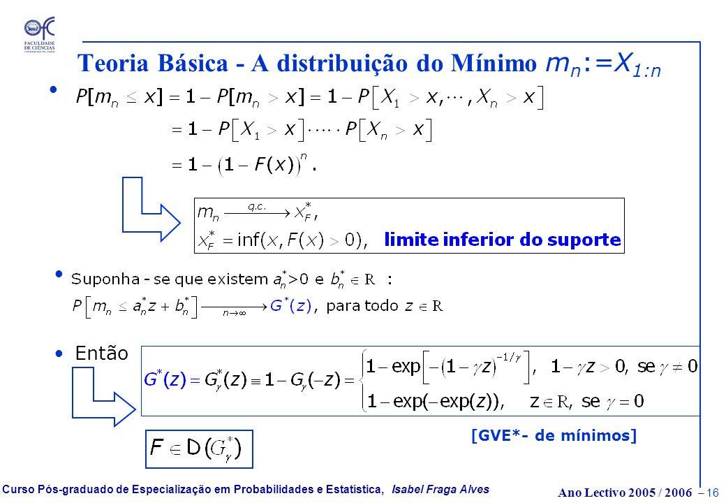 Ano Lectivo 2005 / 2006 – 15 Curso Pós-graduado de Especialização em Probabilidades e Estatística, Isabel Fraga Alves GVE( )