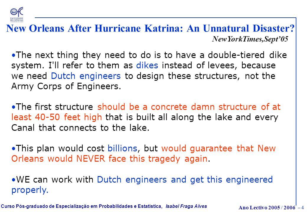 Ano Lectivo 2005 / 2006 – 4 Curso Pós-graduado de Especialização em Probabilidades e Estatística, Isabel Fraga Alves New Orleans After Hurricane Katrina: An Unnatural Disaster.