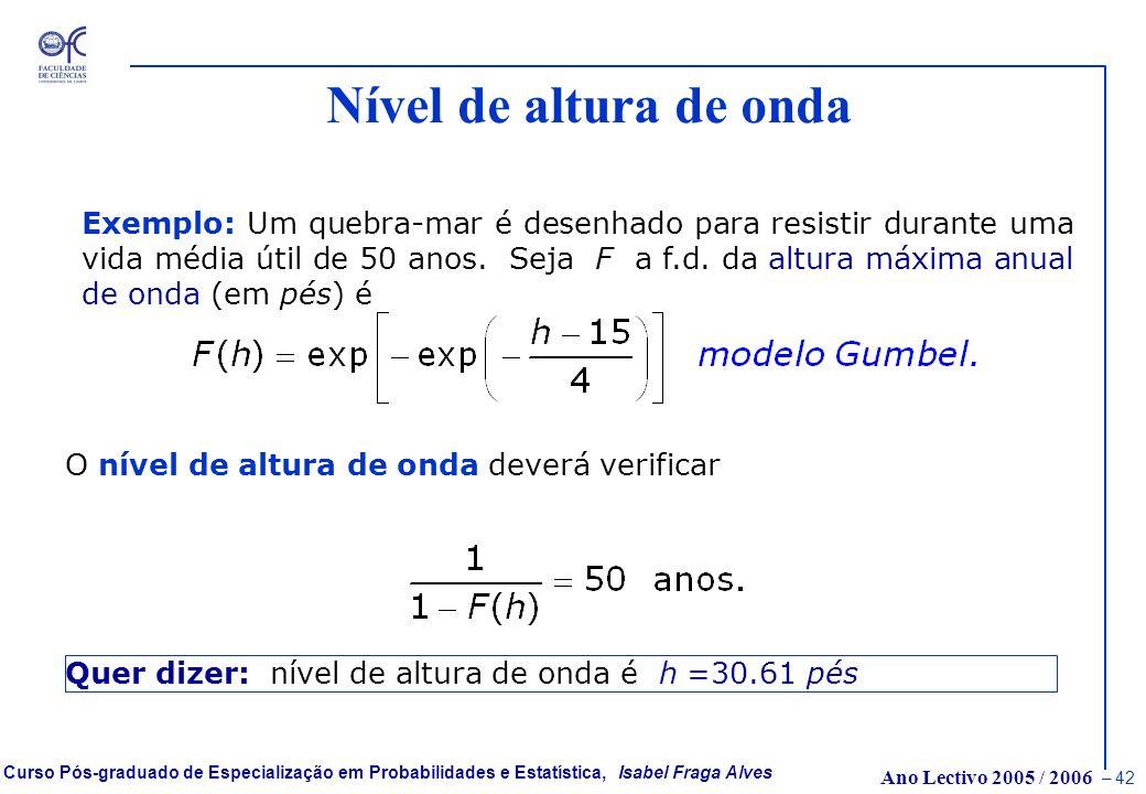 Ano Lectivo 2005 / 2006 – 41 Curso Pós-graduado de Especialização em Probabilidades e Estatística, Isabel Fraga Alves Período de Retorno de uma cheia