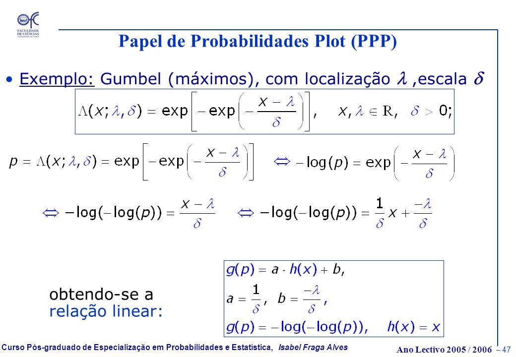 Ano Lectivo 2005 / 2006 – 46 Curso Pós-graduado de Especialização em Probabilidades e Estatística, Isabel Fraga Alves Papel de Probabilidades Plot (PP