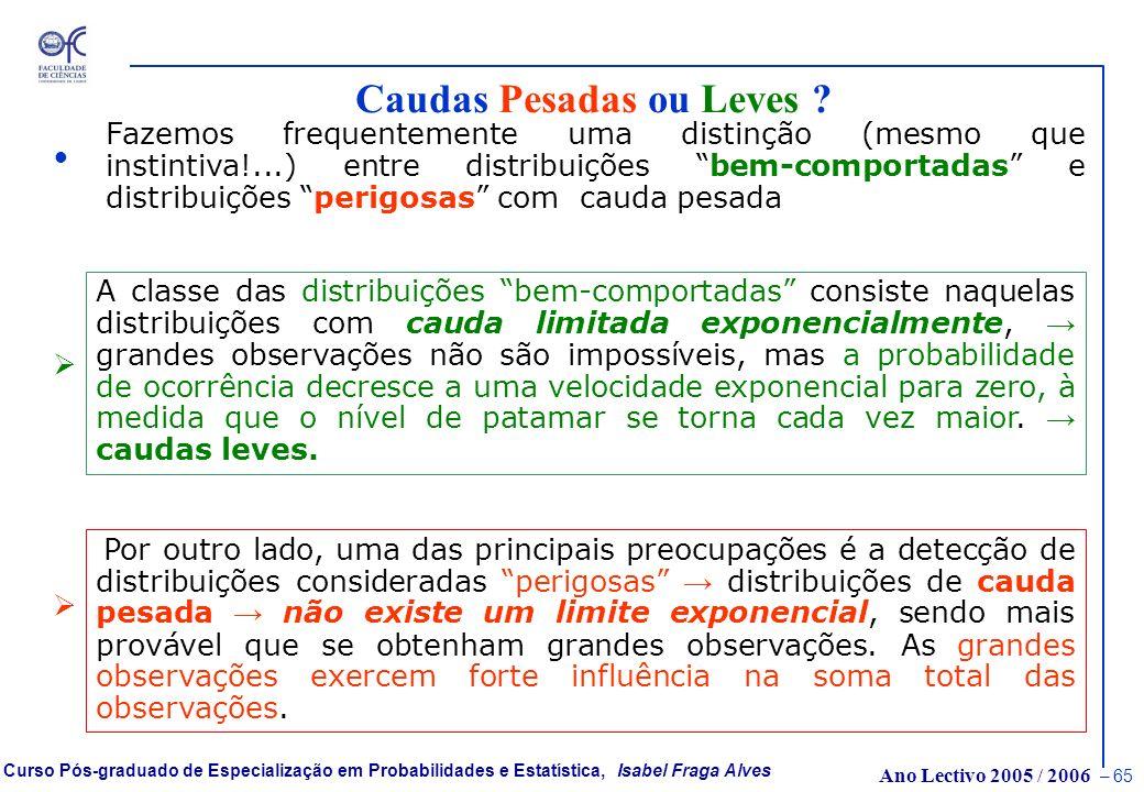 Ano Lectivo 2005 / 2006 – 64 Curso Pós-graduado de Especialização em Probabilidades e Estatística, Isabel Fraga Alves Quantis extremos: Normal ou Gumb