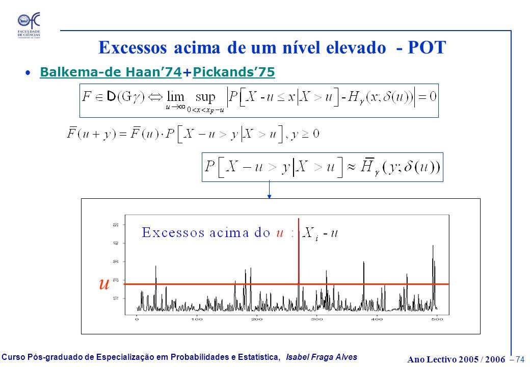 Ano Lectivo 2005 / 2006 – 73 Curso Pós-graduado de Especialização em Probabilidades e Estatística, Isabel Fraga Alves A distribuição Generalizada de P