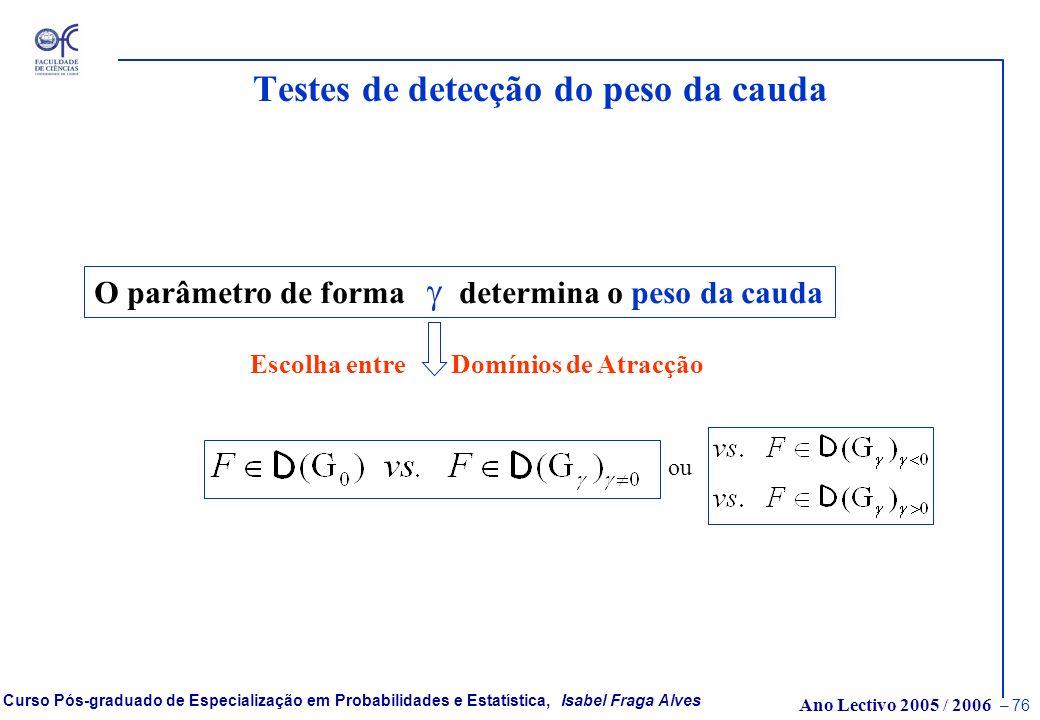 Ano Lectivo 2005 / 2006 – 75 Curso Pós-graduado de Especialização em Probabilidades e Estatística, Isabel Fraga Alves Abordagem semi-paramétrica Maior