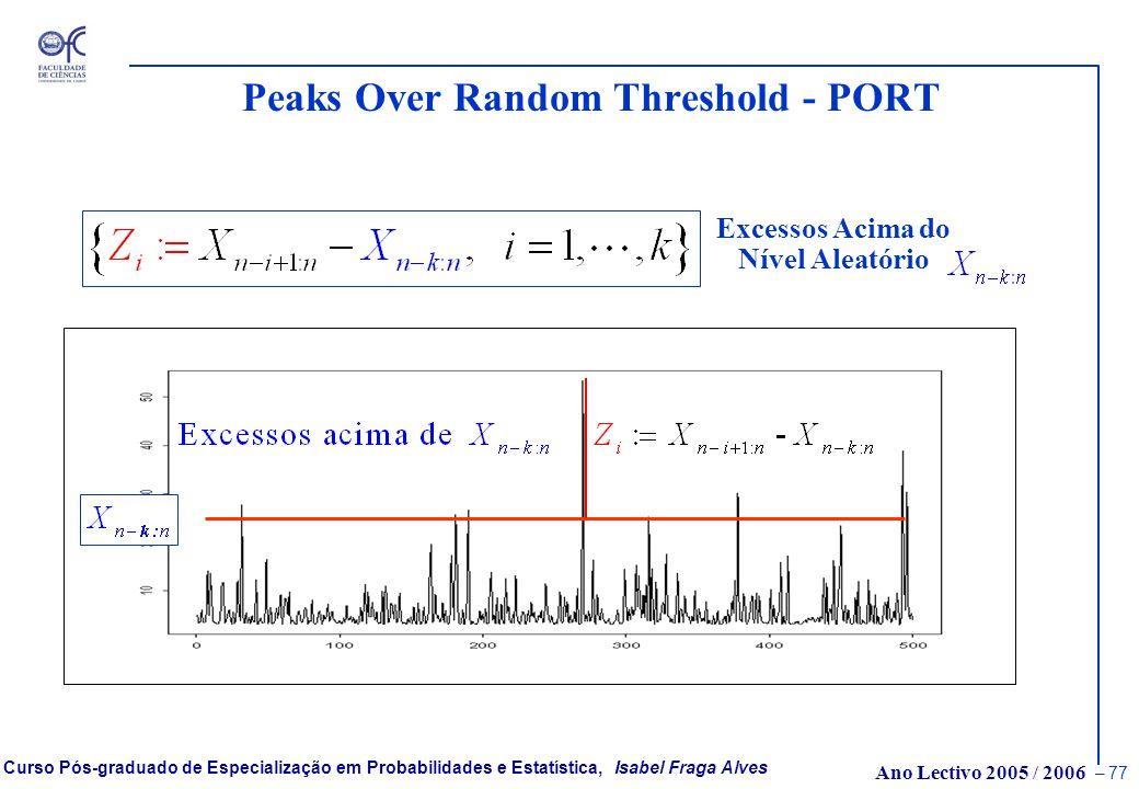 Ano Lectivo 2005 / 2006 – 76 Curso Pós-graduado de Especialização em Probabilidades e Estatística, Isabel Fraga Alves Testes de detecção do peso da ca