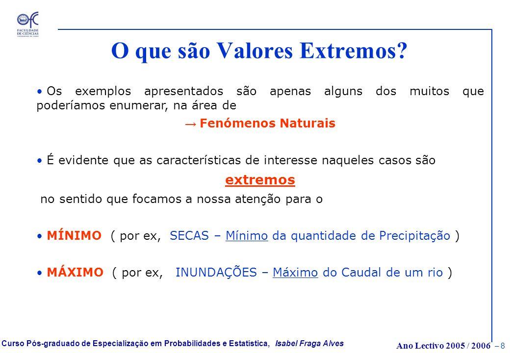 Ano Lectivo 2005 / 2006 – 7 Curso Pós-graduado de Especialização em Probabilidades e Estatística, Isabel Fraga Alves O que são Valores Extremos? Um en
