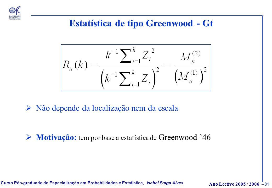 Ano Lectivo 2005 / 2006 – 80 Curso Pós-graduado de Especialização em Probabilidades e Estatística, Isabel Fraga Alves Estatística de Hasofer e Wang -