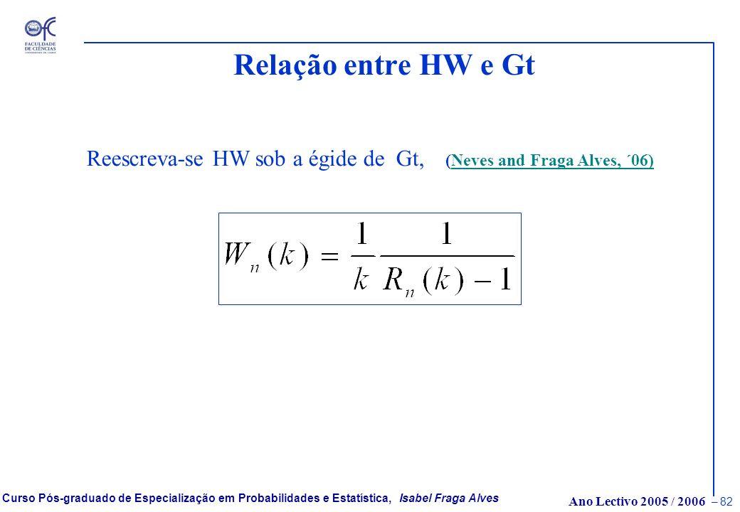 Ano Lectivo 2005 / 2006 – 81 Curso Pós-graduado de Especialização em Probabilidades e Estatística, Isabel Fraga Alves Estatística de tipo Greenwood -