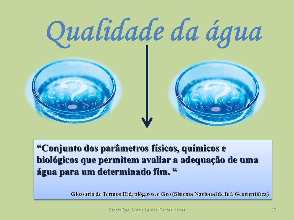 Qualidade da água Conjunto dos parâmetros físicos, químicos e biológicos que permitem avaliar a adequação de uma água para um determinado fim. Conjunt