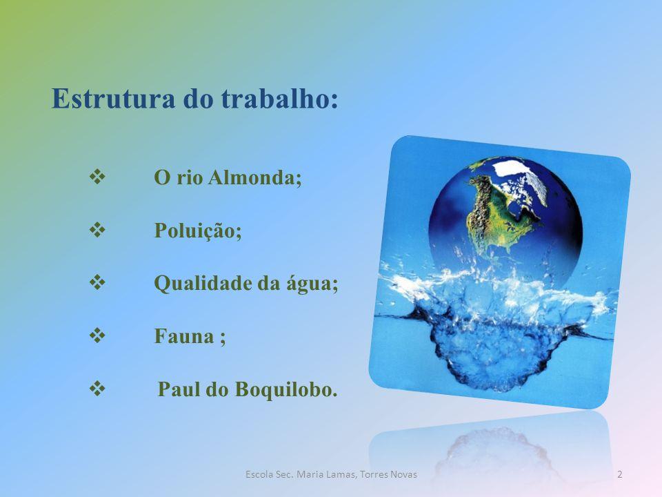 Estrutura do trabalho: O rio Almonda; Poluição; Qualidade da água; Fauna ; Paul do Boquilobo. 2Escola Sec. Maria Lamas, Torres Novas