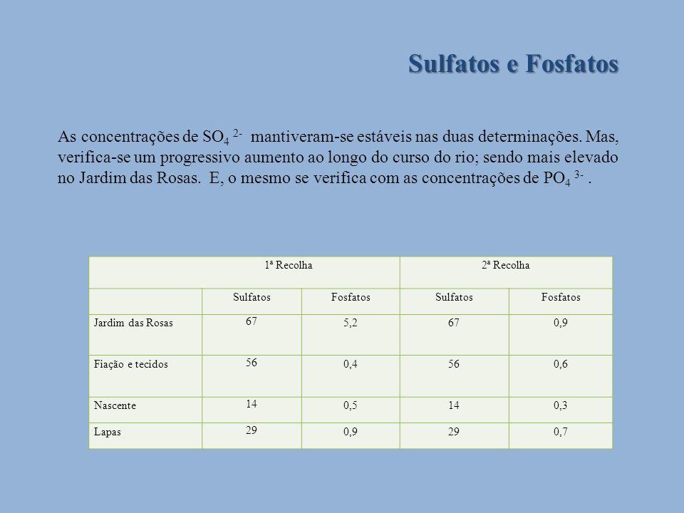 Sulfatos e Fosfatos As concentrações de SO 4 2- mantiveram-se estáveis nas duas determinações. Mas, verifica-se um progressivo aumento ao longo do cur