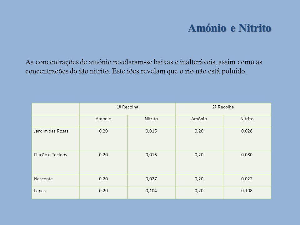 Amónio e Nitrito As concentrações de amónio revelaram-se baixas e inalteráveis, assim como as concentrações do ião nitrito. Este iões revelam que o ri