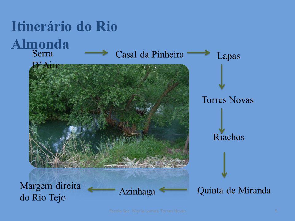 Itinerário do Rio Almonda Serra DAire Casal da Pinheira Lapas Torres Novas Riachos Quinta de Miranda Azinhaga Margem direita do Rio Tejo 5Escola Sec.