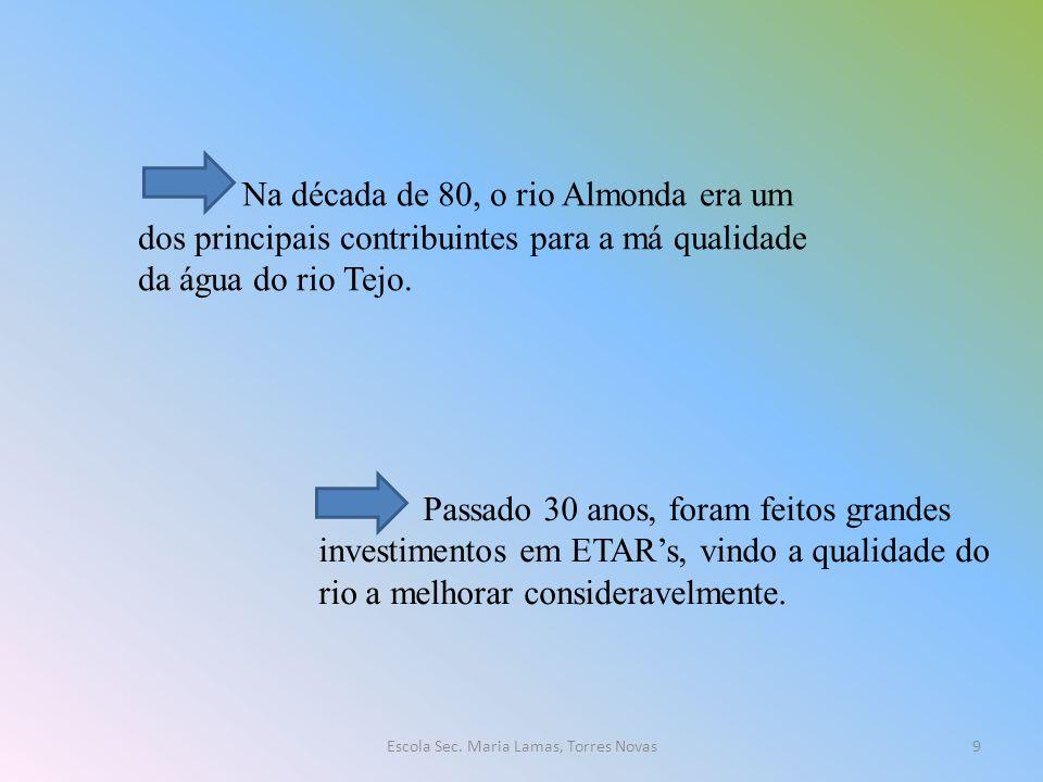 Na década de 80, o rio Almonda era um dos principais contribuintes para a má qualidade da água do rio Tejo. Passado 30 anos, foram feitos grandes inve