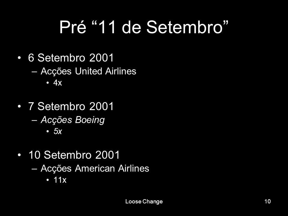 Loose Change10 Pré 11 de Setembro 6 Setembro 2001 –Acções United Airlines 4x 7 Setembro 2001 –Acções Boeing 5x 10 Setembro 2001 –Acções American Airli