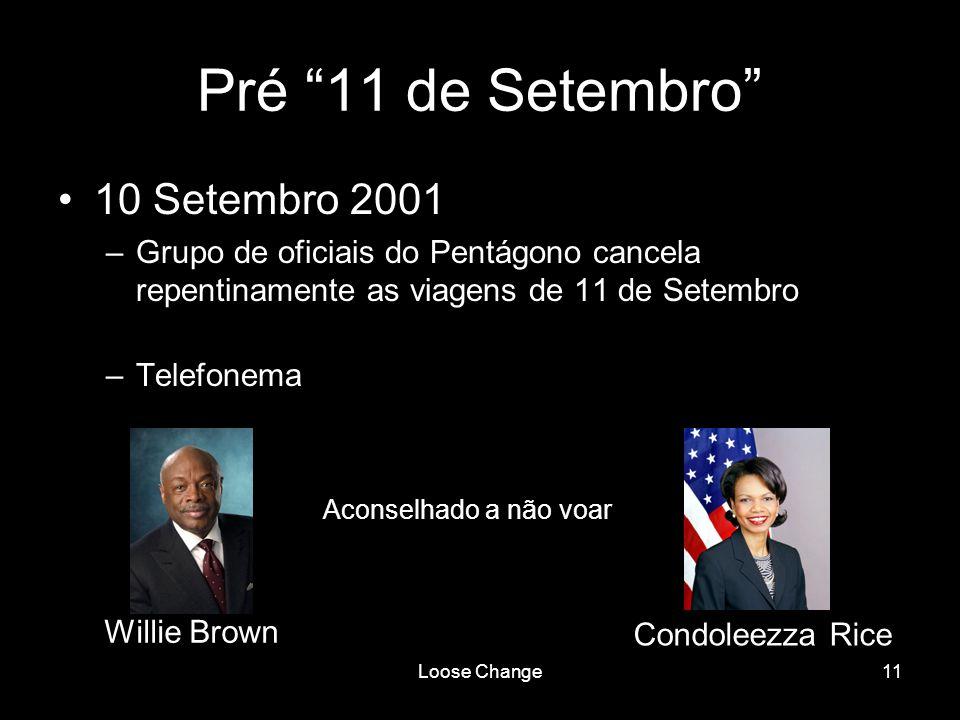 Loose Change11 Pré 11 de Setembro 10 Setembro 2001 –Grupo de oficiais do Pentágono cancela repentinamente as viagens de 11 de Setembro –Telefonema Wil