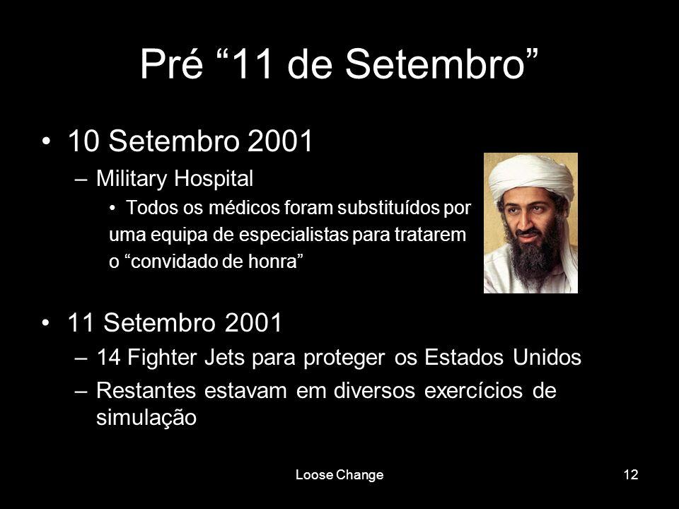 Loose Change12 Pré 11 de Setembro 10 Setembro 2001 –Military Hospital Todos os médicos foram substituídos por uma equipa de especialistas para tratare
