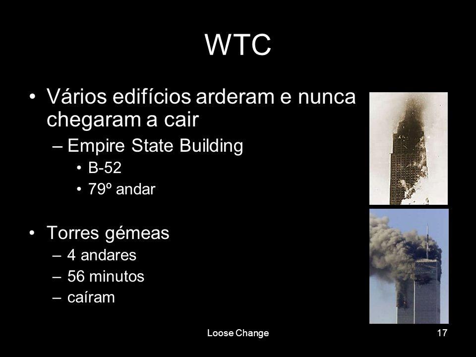 Loose Change17 WTC Vários edifícios arderam e nunca chegaram a cair –Empire State Building B-52 79º andar Torres gémeas –4 andares –56 minutos –caíram