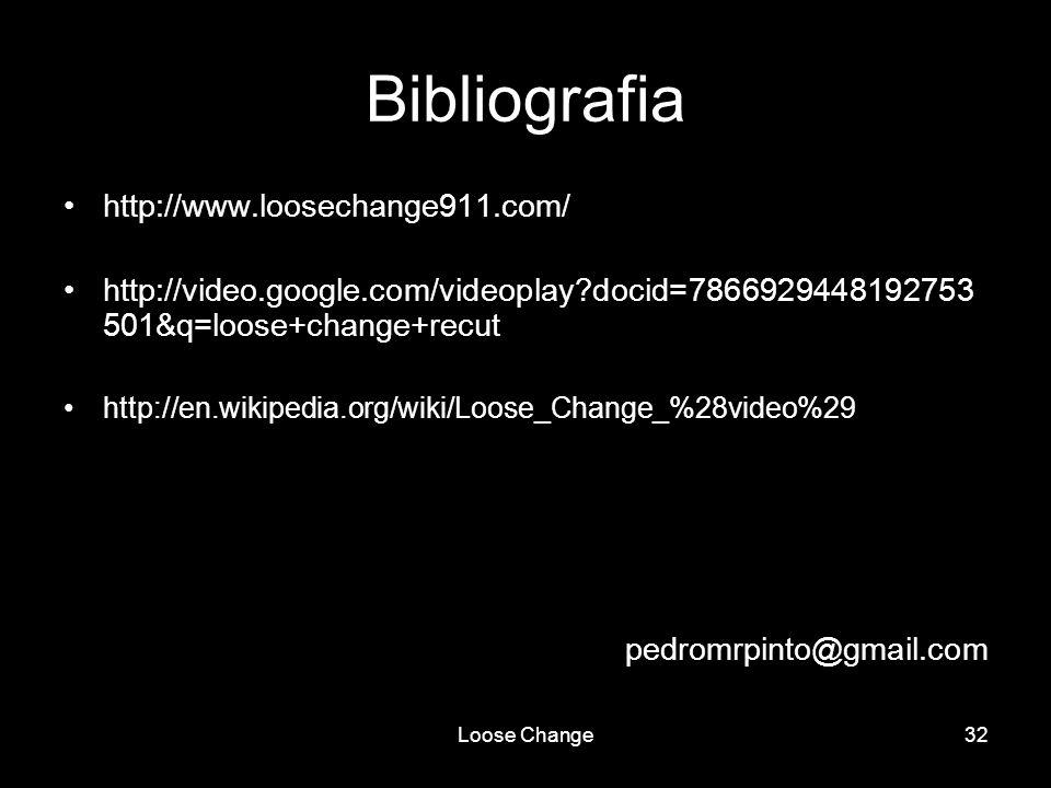 Loose Change32 Bibliografia http://www.loosechange911.com/ http://video.google.com/videoplay?docid=7866929448192753 501&q=loose+change+recut http://en