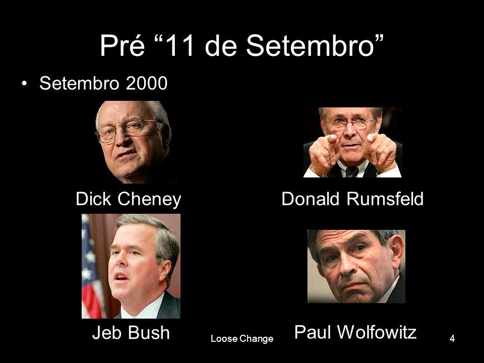Loose Change5 Pré 11 de Setembro Setembro 2000 –Concebem um projecto para o Novo Centenário Americano publicando um relatório intitulado Rebuilding Americas Defenses –Declaram que o processo de transformação, mesmo que revolucionário, deve ser longo, sem nenhum evento catastrófico e catalizador – como um novo Pearl Harbor