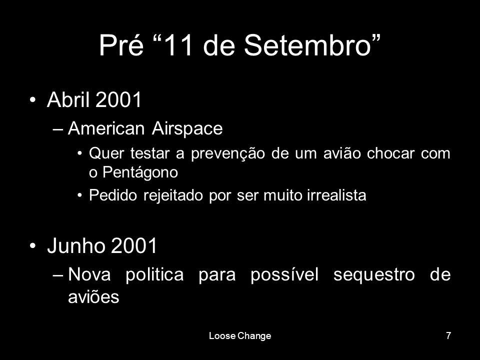 Loose Change7 Pré 11 de Setembro Abril 2001 –American Airspace Quer testar a prevenção de um avião chocar com o Pentágono Pedido rejeitado por ser mui