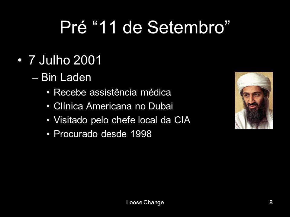 Loose Change8 Pré 11 de Setembro 7 Julho 2001 –Bin Laden Recebe assistência médica Clínica Americana no Dubai Visitado pelo chefe local da CIA Procura