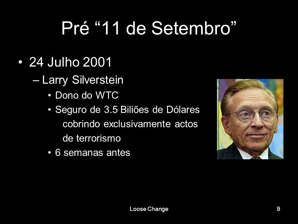 Loose Change10 Pré 11 de Setembro 6 Setembro 2001 –Acções United Airlines 4x 7 Setembro 2001 –Acções Boeing 5x 10 Setembro 2001 –Acções American Airlines 11x
