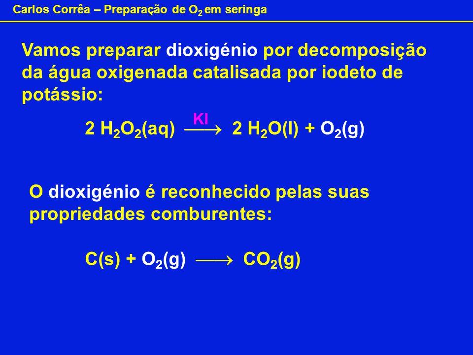 Carlos Corrêa – Preparação de O 2 em seringa Vamos preparar dioxigénio por decomposição da água oxigenada catalisada por iodeto de potássio: 2 H 2 O 2