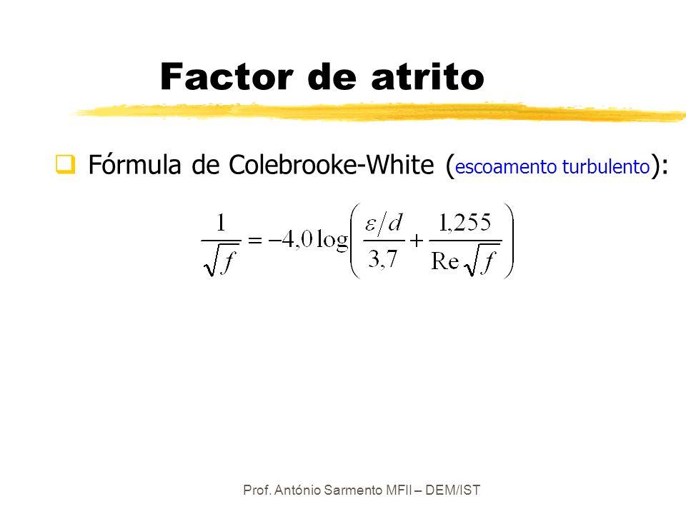 Prof. António Sarmento MFII – DEM/IST Factor de atrito Fórmula de Colebrooke-White ( escoamento turbulento ):