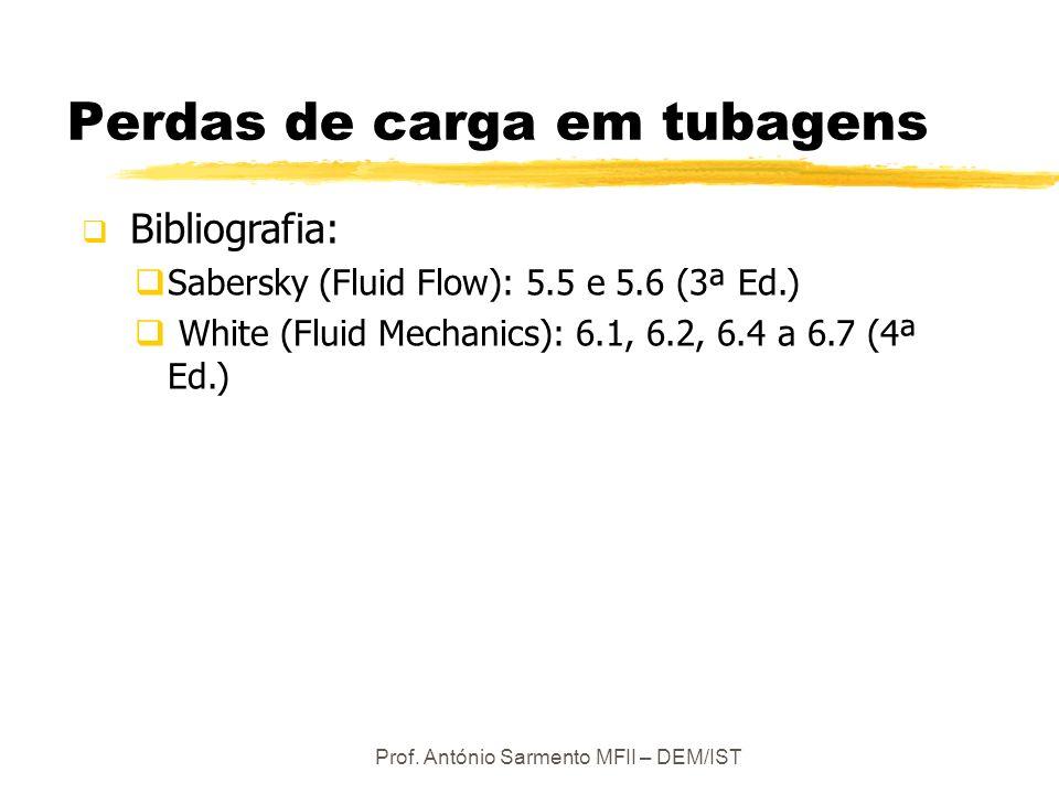 Prof. António Sarmento MFII – DEM/IST Perdas de carga em tubagens Bibliografia: Sabersky (Fluid Flow): 5.5 e 5.6 (3ª Ed.) White (Fluid Mechanics): 6.1