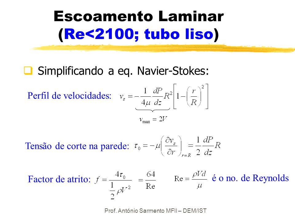Prof. António Sarmento MFII – DEM/IST Perfil de velocidades: Factor de atrito: Escoamento Laminar (Re<2100; tubo liso) Simplificando a eq. Navier-Stok