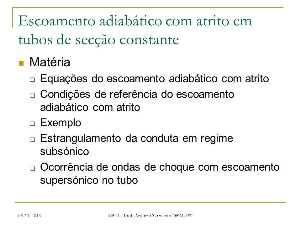 08-11-2013 MF II - Prof. António Sarmento DEM/IST Escoamento adiabático com atrito em tubos de secção constante Matéria Equações do escoamento adiabát