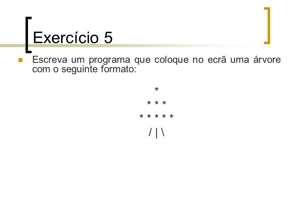 Exercício 6 Escreva um programa que coloque no ecrã o seguinte output: Total=100% IVA=20% IRS=15% --------------------------- Liquido=65%