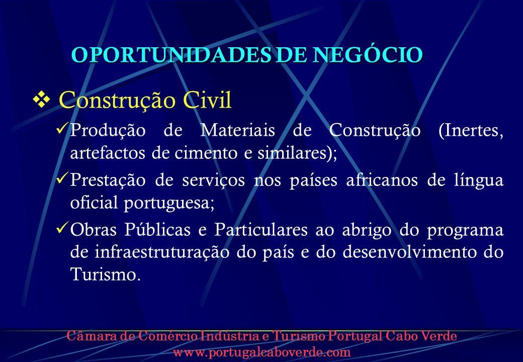 Câmara de Comércio Indústria e Turismo Portugal Cabo Verde www.portugalcaboverde.com OPORTUNIDADES DE NEGÓCIO Construção Civil Produção de Materiais d