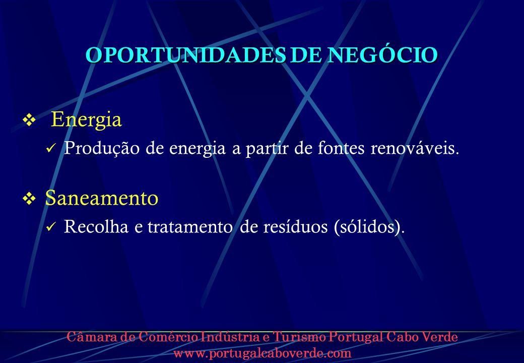 Câmara de Comércio Indústria e Turismo Portugal Cabo Verde www.portugalcaboverde.com OPORTUNIDADES DE NEGÓCIO Energia Produção de energia a partir de