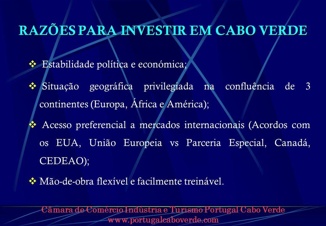 Câmara de Comércio Indústria e Turismo Portugal Cabo Verde www.portugalcaboverde.com INDÚSTRIA Incentivos Fiscais (cont.) Redução nos 7 anos seguintes do Imposto Único sobre o Rendimento em percentagem igual à do valor FOB das exportações sobre as vendas totais.