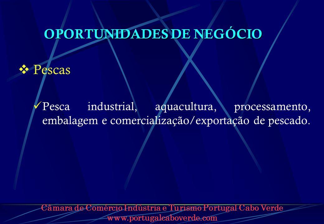 Câmara de Comércio Indústria e Turismo Portugal Cabo Verde www.portugalcaboverde.com OPORTUNIDADES DE NEGÓCIO Pescas Pesca industrial, aquacultura, pr