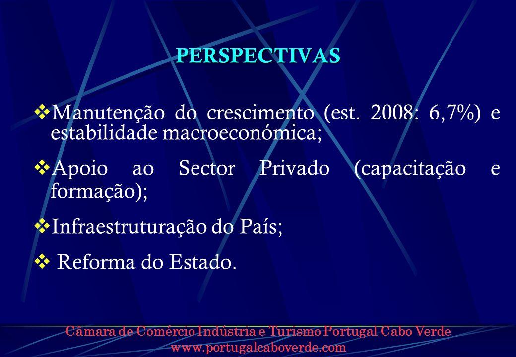 Câmara de Comércio Indústria e Turismo Portugal Cabo Verde www.portugalcaboverde.com PERSPECTIVAS Manutenção do crescimento (est. 2008: 6,7%) e estabi