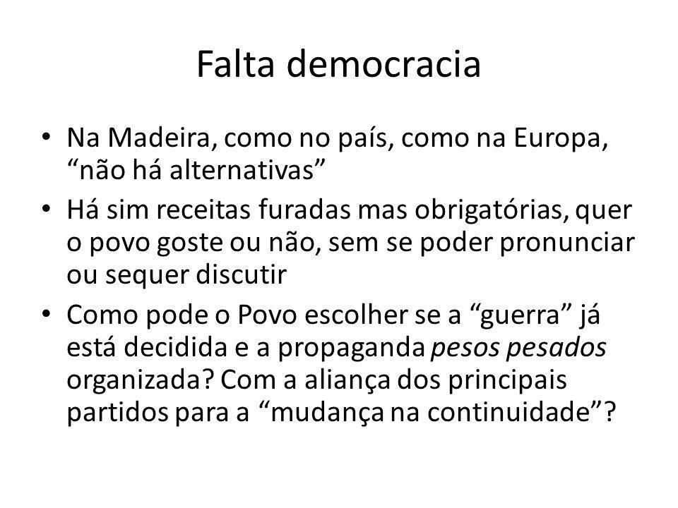 Falta democracia Na Madeira, como no país, como na Europa, não há alternativas Há sim receitas furadas mas obrigatórias, quer o povo goste ou não, sem