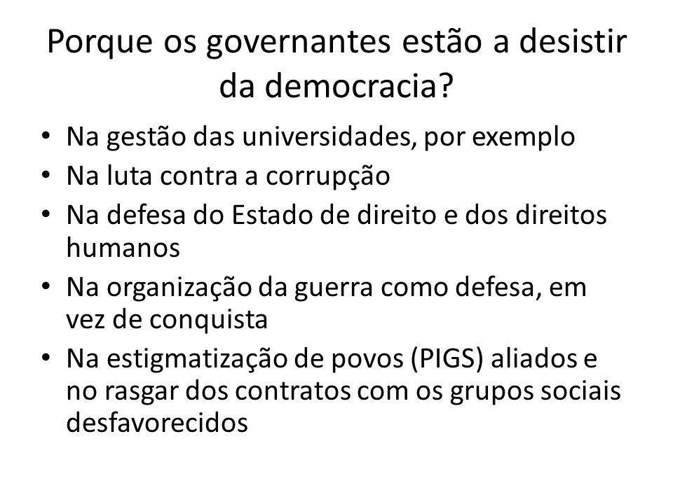 Porque os governantes estão a desistir da democracia? Na gestão das universidades, por exemplo Na luta contra a corrupção Na defesa do Estado de direi